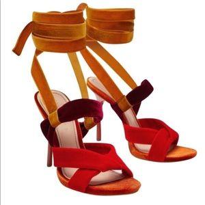 Zara Velvet Strap Wrap Sandal Heels